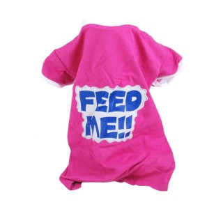 T-shirt pour chien Feed me - Taille S - Rose