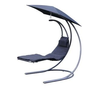 Chaise longue balancelle parasol - 178 x 155 x 110 cm - Ardoise