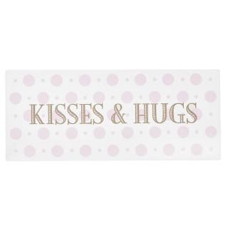 Plaque métallique de décoration - Kisses & Hugs - Rose