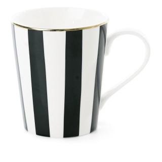 Mug avec poignée à Rayures - Noir et Blanc