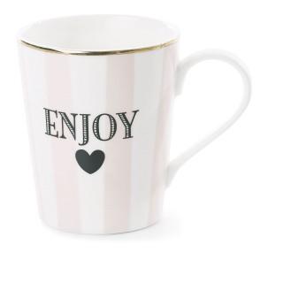Mug avec poignée à Rayures Enjoy - Rose
