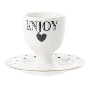 Coquetier Enjoy - Noir et blanc