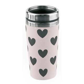 Mug thermos Cœurs - 500 ml - Noir et rose