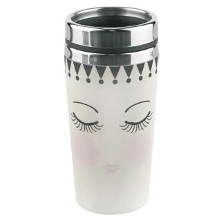 Mug thermos Yeux fermés - 500 ml - Noir et blanc