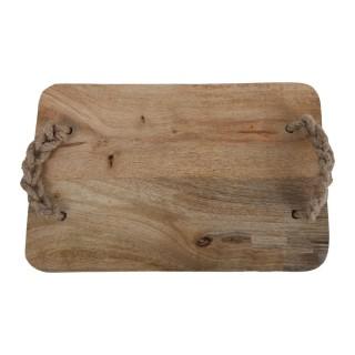 Planche à découper avec anse tressée - 30 x 20 cm - Marron