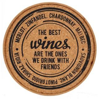 Plateau en liège - Diam. 30 cm - Wine