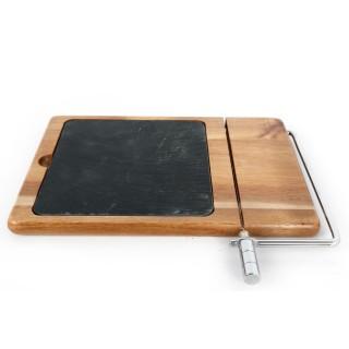 Plateau à fromages avec trancheuse - 26 x 22 cm - Marron