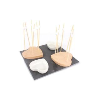 Set apéritif - Planche avec 2 bols en cœur et piques - 22 cm
