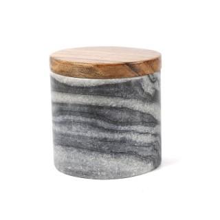 Pot en marbre avec couvercle - Diam. 11,5 cm - Gris