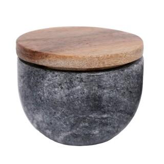 Pot en marbre avec couvercle - Diam. 10,5 cm - Gris