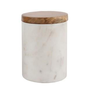 Pot en marbre avec couvercle - Diam. 11,5 cm - Blanc