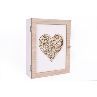 Boîte à clés motif cœur - 18 x 24 cm - Blanc