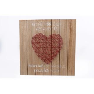 Tableau motif cœur - 35 x 35 cm - Rouge