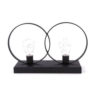 Lampes LED double Sphères - 31 x 19 cm - Noir