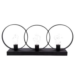 Lampes LED triple Sphères - 45 x 19 cm - Noir