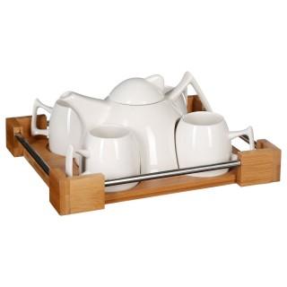 Service à thé Bois - Pour 4 personnes - Blanc