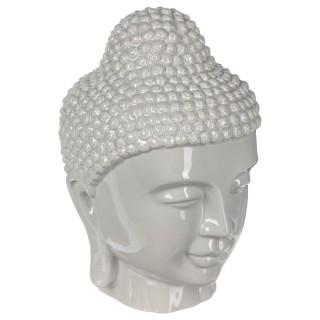 Statut tête de Bouddha - H. 27 cm - Gris clair