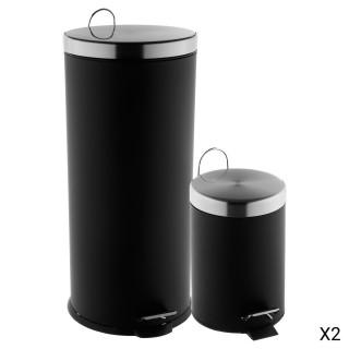 2 Poubelles à pédale - 30 L et 3 L - Noir