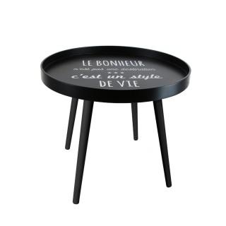 Table basse ronde Deco Chic - 50 x 44 cm - Le bonheur c'est un style de vie