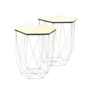 2 Tables Gigognes Deco Chic - Filaire Blanc