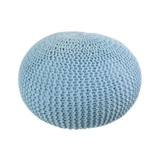 Coussin de sol tressé - Diam. 50 cm - Bleu