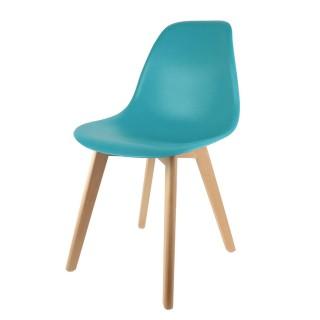 Chaise scandinave Coque - H. 83 cm - Bleu canard