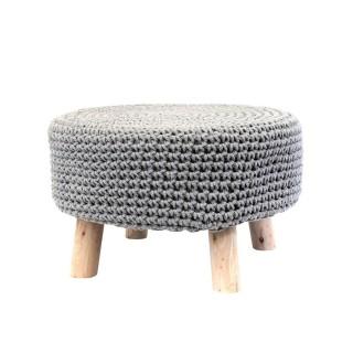 Pouf tressé avec pieds en bois - Diam. 48 cm - Gris clair