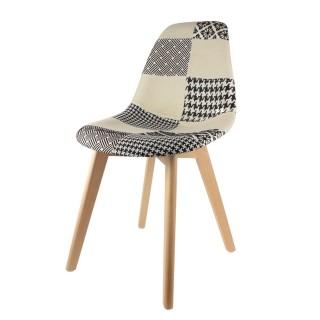 Chaise scandinave Patchwork - H. 85 cm - Noir et blanc