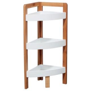 Etagère d'angle 3 niveaux - H. 61 cm - Bambou blanc