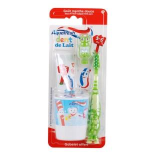 Kit dentaire pour enfant 3-5 ans Popsy - Spécial Dents de lait - Vert Aquafresh
