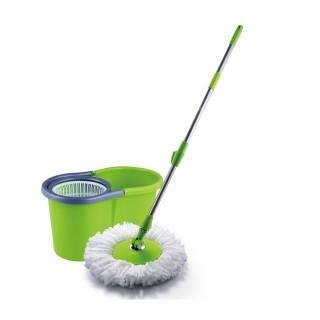 Seau essoreur avec balai rotatif en microfibre - Une recharge - Vert anis