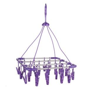Séchoir pour sous-vêtements carré à suspendre - 24 Pinces - Violet