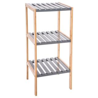 Etagère de salle de bain en bambou 3 niveaux - H. 80 cm - Gris