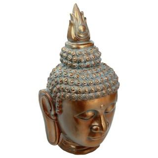 Statue tête de Bouddha - H. 65 cm - Cuivre