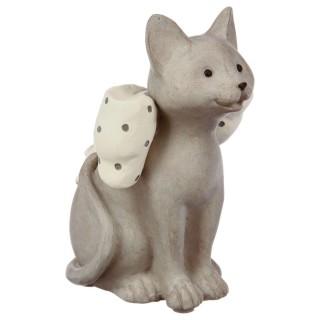 Statue Chat avec noeud en résine - H. 14 cm - Gris clair