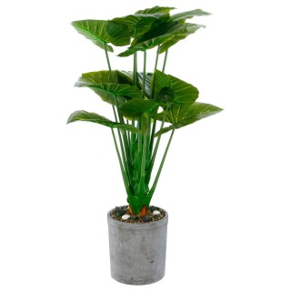 Plante artificielle avec pot en ciment - 29 x 120 cm - Vert
