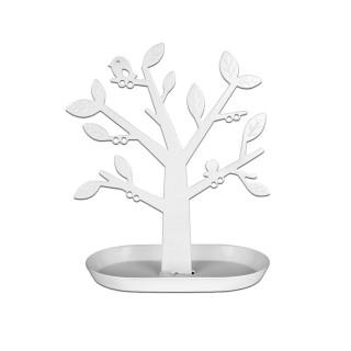 Porte bijoux avec coupelle Arbre - 5 Paires de boucles d'oreilles - Blanc