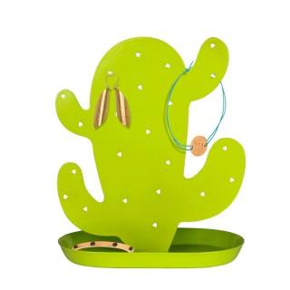 Porte bijoux avec coupelle Cactus - 11 Paires de boucles d'oreilles - Vert anis