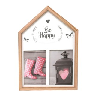 Cadre mural 2 photos Maison - 23 x 33 cm - Be Happy