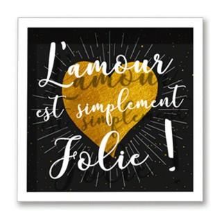 Cadre imprimé cœur Double - 30 x 30 cm - L'amour jolie
