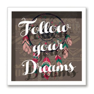 Cadre imprimé attrape-rêves Double - 30 x 30 cm - Follow your Dreams
