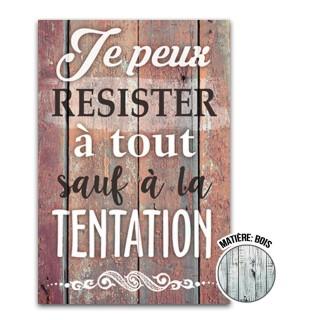 Cadre imprimé effet bois La tentation - 23 x 34 cm - Marron