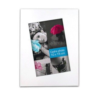 Cadre photo à poser Biais - 15 x 20 cm - Blanc