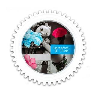 Cadre photo à poser Rouage - Diam. 17 cm - Blanc