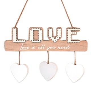 Suspension bois 3 Pinces photos cœur - 21 x 14 cm - Love