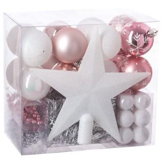 Kit déco pour sapin de Noël - 44 Pièces - Rose, blanc et gris