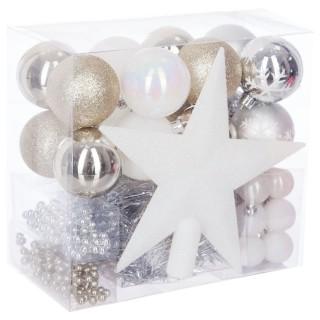 Kit déco pour sapin de Noël - 44 Pièces - Or, blanc et gris