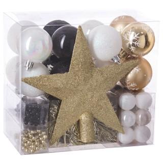 Kit déco pour sapin de Noël - 44 Pièces - Or, blanc et noir