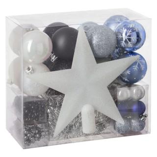 Kit déco pour sapin de Noël - 44 Pièces - Bleu, blanc et noir