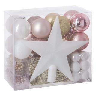 Kit déco pour sapin de Noël - 44 Pièces - Rose, blanc et or